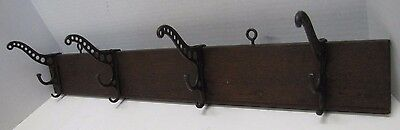Antique Victorian Cast Iron Four Hanger Rack Wood Mount triple hook 19c architec