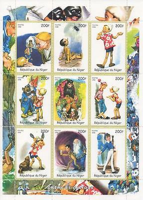 "PINOCCHIO CARTOON CINEMA 5.5"" x 7.5"" REPUBLIQUE DU NIGER 1998 MNH STAMP SHEETLET"