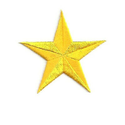 One ( 1 ) Star - Yellow - Embroidered Stars Iron On Patch - Generous 3""