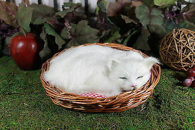 Adorable Sleeping White Cat in basket w/ cusion plush Furry Animal Taxidermy