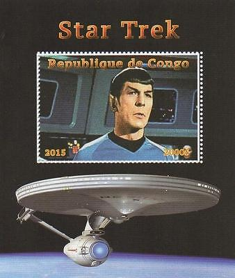 Star Trek Spock Leonard Nimoy Starship Enterprise 2015 Mnh Stamp Sheetlet