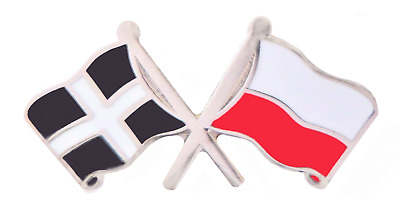 Poland Flag & Cornwall St Piran's Flag Friendship Courtesy Pin Badge - C16