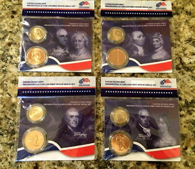 All 4 2007 FIRST SPOUSE MEDALS & PRESIDENTIAL Gold $1 Coins US MINT Lady BU Sets
