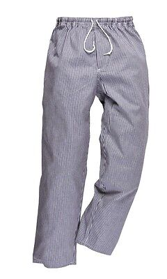 Portwest Bromley Unisex Chefs Trouser check Kitchen Trousers Elasticated Waist