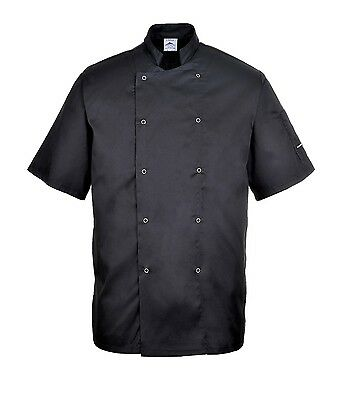 Portwest Chefs Jacket Chef White Kitchen Coat Pen Pocket Short Sleeve Coat C733