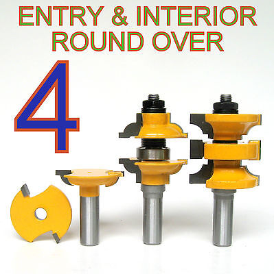 """4 pc 1/2"""" SH Round Over Entry & Interior Door Matched R&S Router Bit Set sct-888"""