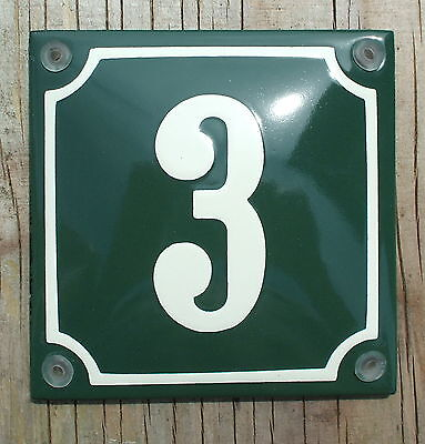 FRENCH  ENAMEL HOUSE NUMBER SIGN. CREAM No.3 ON A GREEN BACKGROUND. 10x10cm.