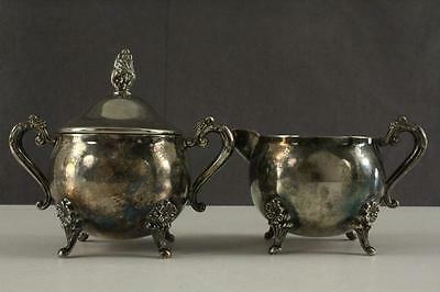 Vintage Elegance Wm Rogers Silverplated Brass 2PC Creamer & Sugar Set