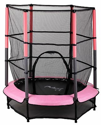 FoxHunter Junior Trampoline With Enclosure Safety Net Kids Child Pink 4.5FT 55""
