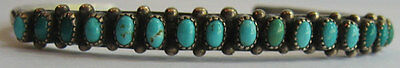 Vintage Navajo Indian Silver Shades Of Blue Turquoise Row Cuff Bracelet
