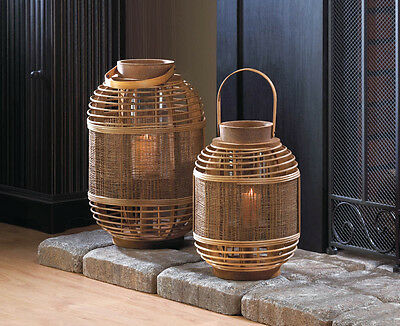 Bamboo Garden Candle Lantern w/ Glass Candle Cylinder