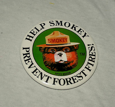 Large Help Smokey The Bear Prevent Forest Fires! Pin Button NOS New