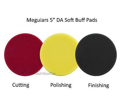 "Meguiars 3 Pads 5"" Soft Foam DA Polishing Finishing Cutting Disc G220 DAS6"
