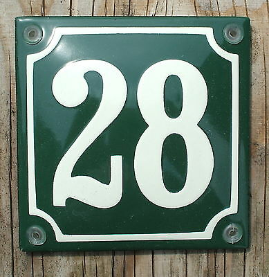 FRENCH  ENAMEL HOUSE NUMBER SIGN. CREAM No.28 ON A GREEN BACKGROUND 10x10cm.