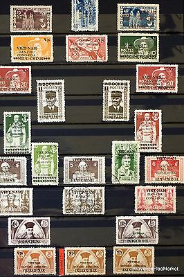 Vietnam VietMinh  Indochina France 1946   SURCHARGED  73 STAMPS 88M103