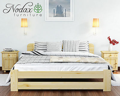 Wooden Furniture Solid Pine Bed Frame 6ft UK Size – 4 Colours – ONE