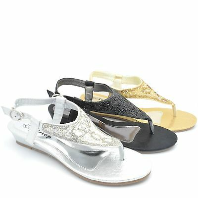 New Womens Wedge Diamante Toe Post Ladies Sparkly Dressy Party Sandals Size S100