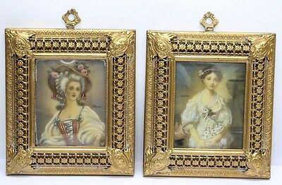 Interesting old pair of French miniatures bronze frame signed