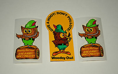 3 Vtg Woodsy The Owl Give A Hoot Don't Pollute! 1970s Sticker New NOS 2 Styles