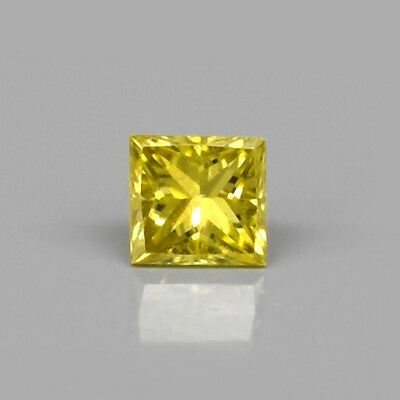 Rare! 0.11ct 2.6mm Square Princess SI1 Natural Fancy Yellow Diamond, Full Fire