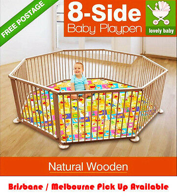 1 x NEW NATURAL WOODEN BABY PLAYPEN , KIDS TODDLER , PET PEN , FENCE 8 Panel