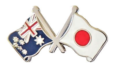 Australia Flag & Japan Flag Friendship Courtesy Pin Badge - A7