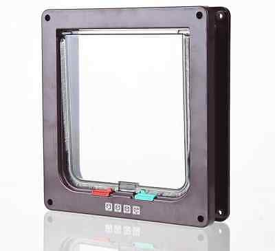 4Way Magnetic Locking Lockable Pet Cat Dog Flap Door Safe Suitable Any Wall Yuno