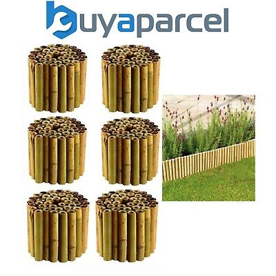 6x Gardman 09270 30cm x 1m Bamboo Garden Lawn Edging Roll Flexible Border  100cm