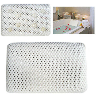 Comfy Bath Pillow White Soft Non-Slip Head Read Neck Support with Suction Cups