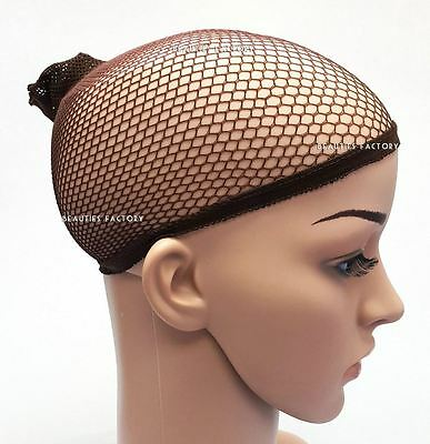 2 X Elastic Unisex Stocking Wig Liner Cap Snood Nylon Stretch Mesh Brown 1008R
