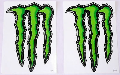 """SET OF 2 MONSTER ENERGY DRINK LOGO STICKERS Black/Green 5.5"""" x 8.5""""  NEW"""