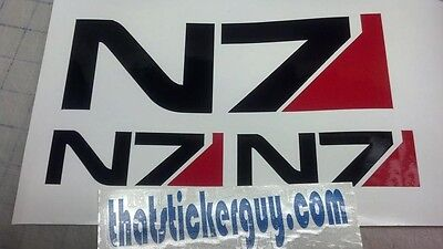 "MASS EFFECT N7 sticker  3pc set 1 @ 9"" X 3"" & 2 @ 4.5"" X 1.5"" decal"