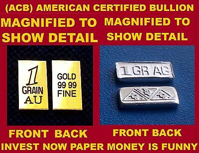 ACB INGOT GOLD & SILVER BULLION 1GRAIN BARS .999 FINE COMBO PACK OF Au and Ag !