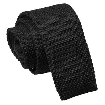 DQT Knit Knitted Plain Solid Black Casual Mens Skinny Tie