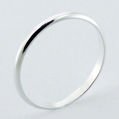 GIRLS SMALL SIZE STERLING SILVER PLAIN  BAND RING 2MM  Wide Sizes G-M