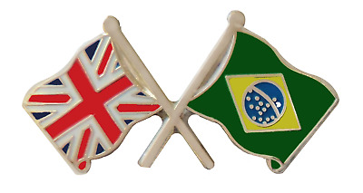 Brazil Flag & United Kingdom Flag Friendship Courtesy Pin Badge - T846