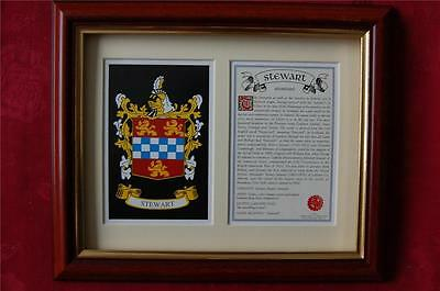STEWART Family FRAMED Heraldic Coat of Arms Crest and Name History