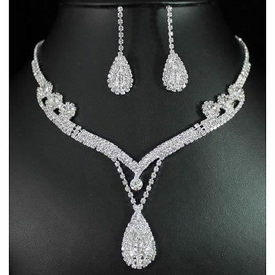 Bridal Jewelry Set Crystal Rhinestone Tear Drop Earrings Necklace Wedding Prom