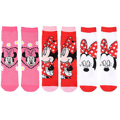 3 Pairs Of Childrens Disney Minnie Mouse Girls Cotton Medium Length Socks New