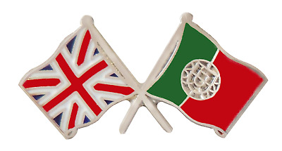 Portugal Flag & United Kingdom Flag Friendship Courtesy Pin Badge - T499