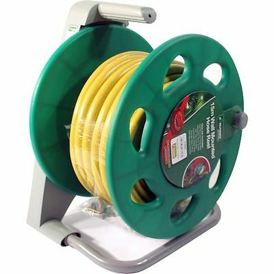 15M Complete Wall Mounted Hose Pipe Reel Set Garden Hosepipe Spray Reinforced