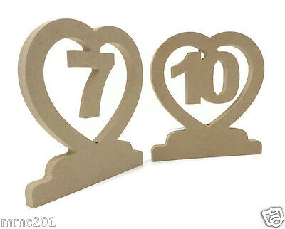 Freestanding Wooden Table Numbers - Wedding - Craft MDF - 25mm Thick