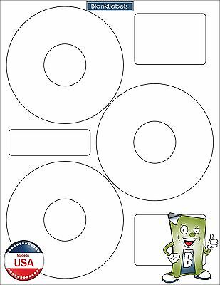 300 CD DVD Disk Laser / Ink Jet Labels Compatible Neato CLP-192301. 100 Sheets 3