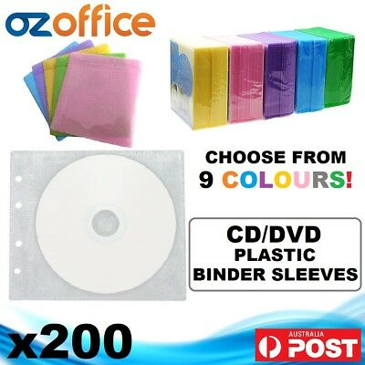 PREMIUM 200 x CD DVD Plastic Sleeves White Black Binder Sleeve Holds 400 Discs