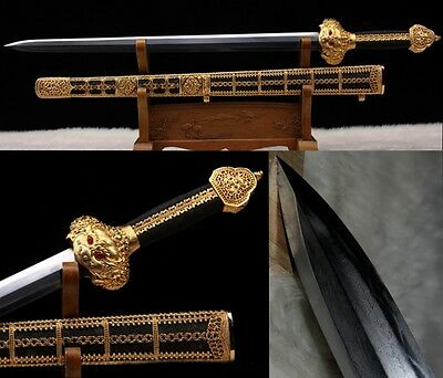 Best Quality Archaize Chinese Sword Genuine Ray Skin Clay Tempered Folded Steel