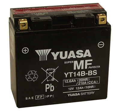 Genuine Yuasa YT14B-BS, 12V 12AH Motorbike Motorcycle Battery Inc Filling Kit