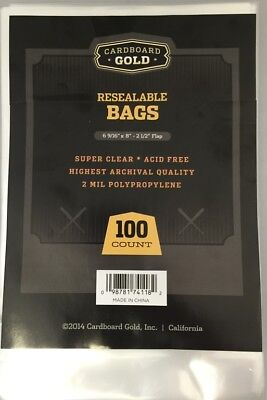"100 CBG Manga or Readers Digest Acid Free 2-Mil Poly Bags 6-9/16""X8"" RESEALABLE"