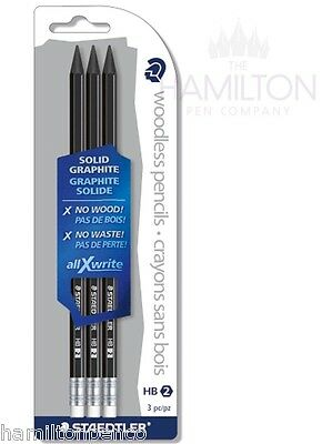 STAEDTLER allXwrite SOLID GRAPHITE HB PENCILS - pack of 3 with erasers