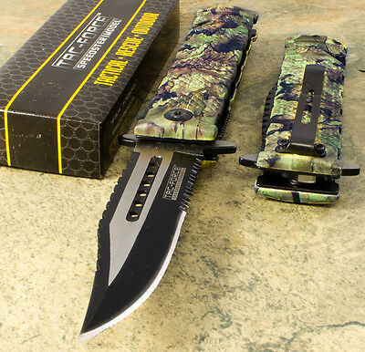 Tac Force Spring Assisted Open JUNGLE CAMO Folding Pocket Knife BOWIE Sawback