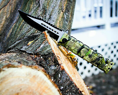 Tac Force BOWIE JUNGLE CAMO Spring Assisted Open Folding Pocket Knife Sawback